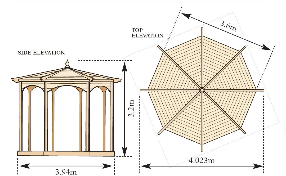Grange regis wooden garden gazebo model b gazebo direct for 8 sided gazebo plans