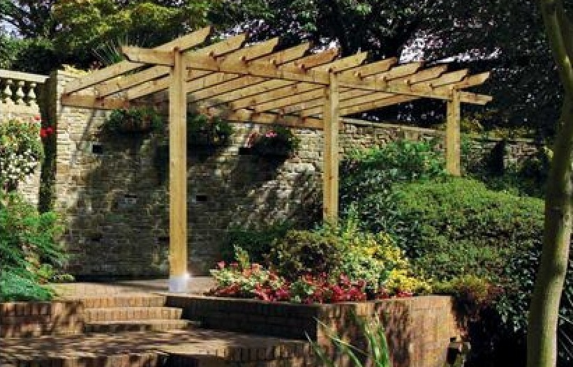 Lean To Wooden Garden Pergola