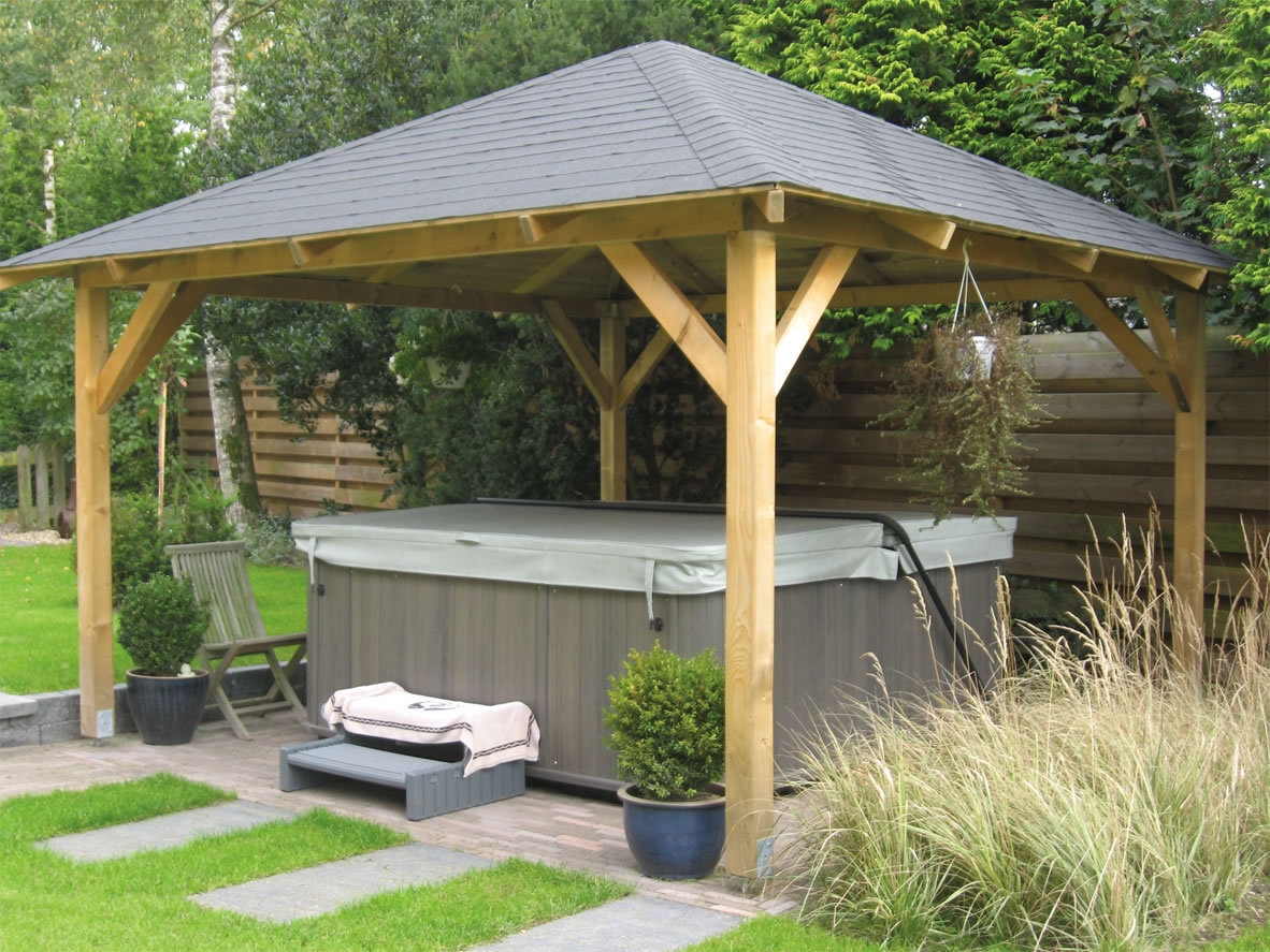 Hot Tub Canopy : Tourist wooden gazebo m timber garden canopy