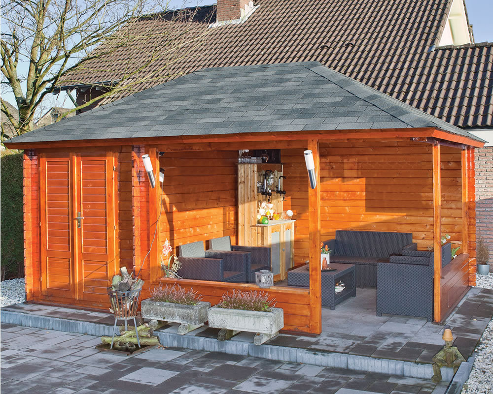 Morten wooden garden gazebo annexe 5m x gazebo for Large wooden gazebos
