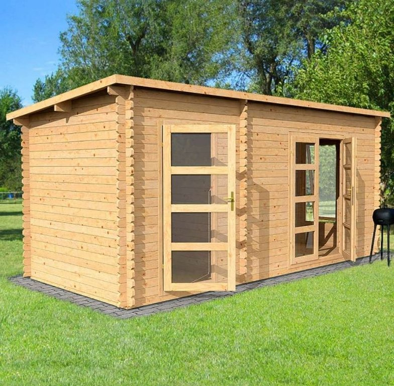 Dual Room Log Cabin with Pent Roof | 5.4m x 2.5m