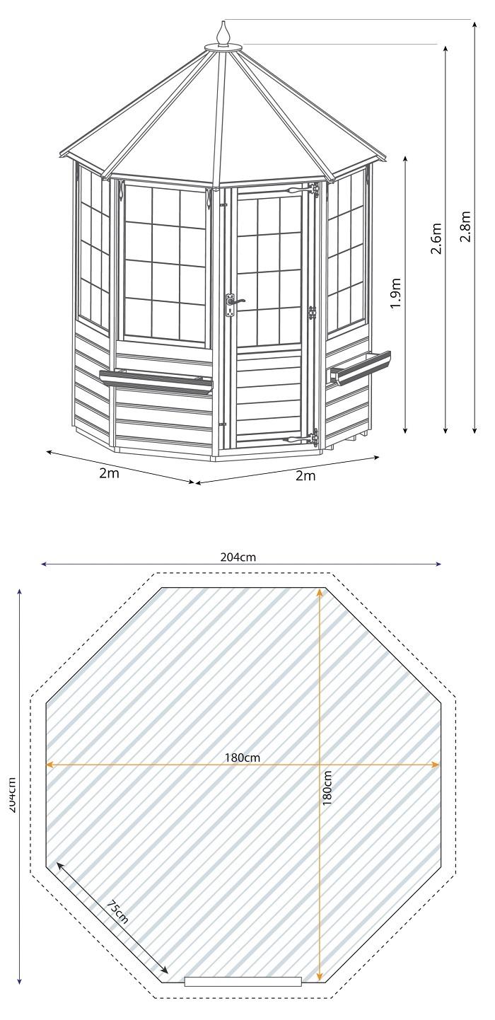 Mercia 6 X 6 Octagonal Summerhouse Gazebo Direct
