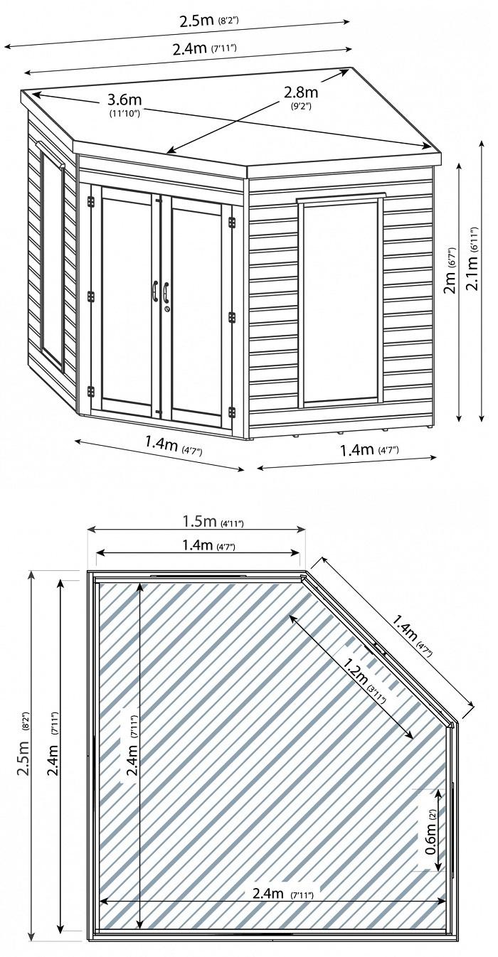8x8 Corner Summerhouse Cheap Prices Online Gazebo Direct