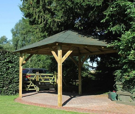 Pressure treated wooden garden gazebo