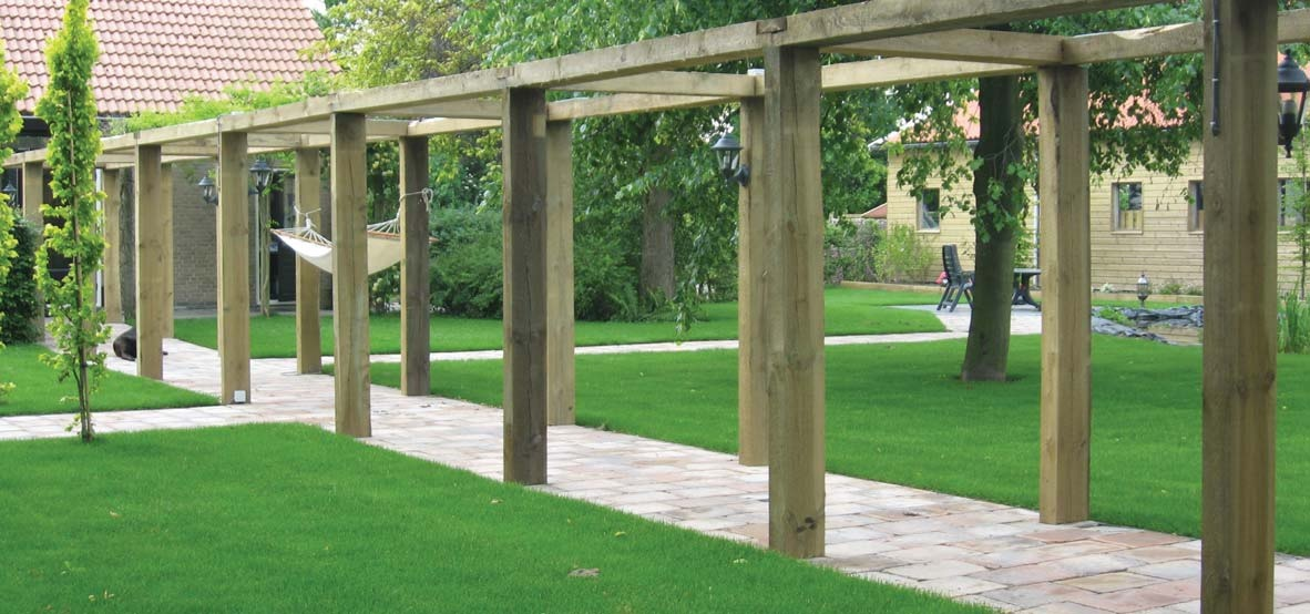Large pergola made from railway sleepers