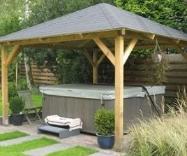 Gazebo used as a hot tub canopy
