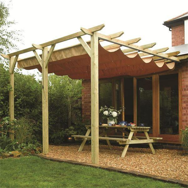 & Sienna Wooden Patio Pergola | Garden Sun Canopy | Gazebo Direct