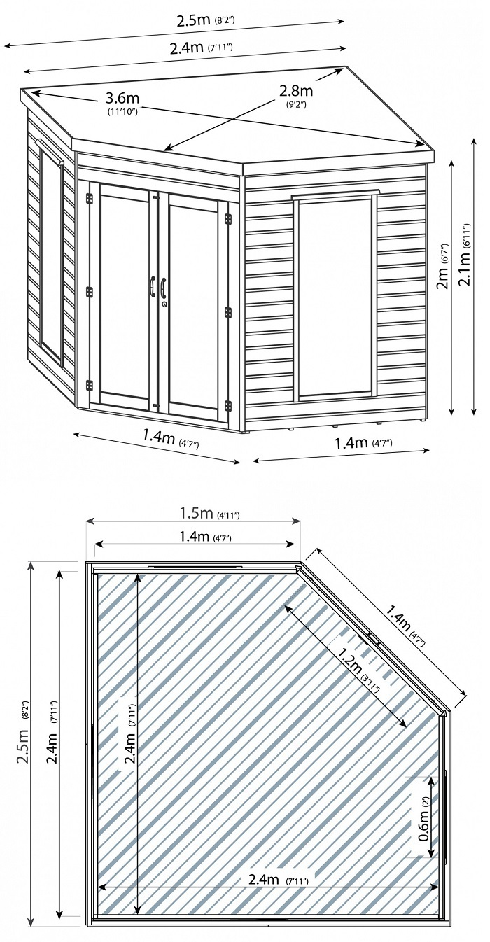 8x8 Corner Summerhouse Measurements