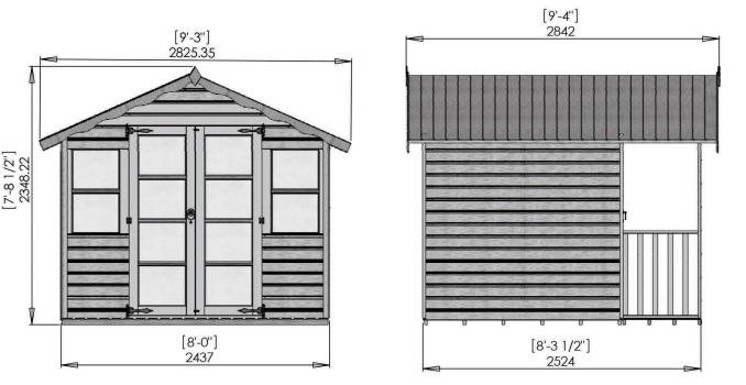 8 x 8 traditional summerhouse dimensions