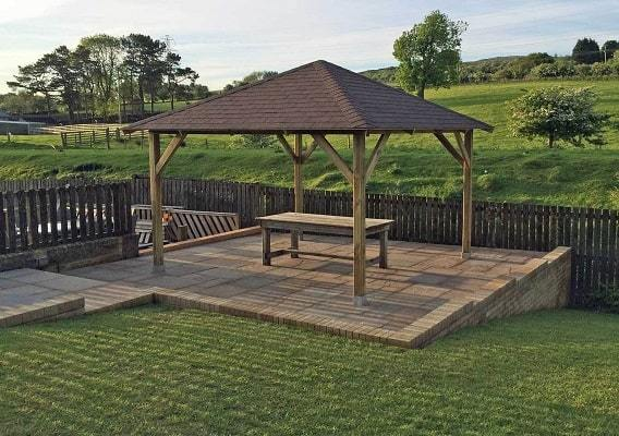 Classico gazebo with brown shingles