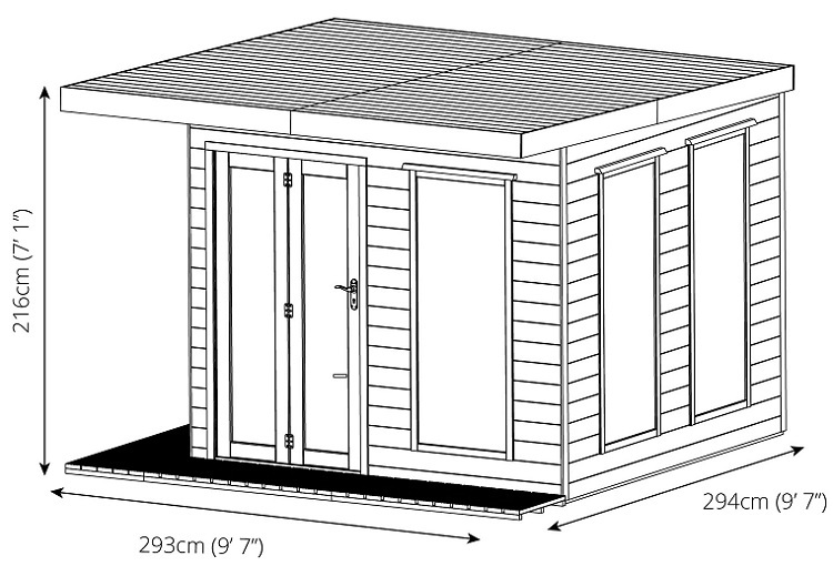 cube summerhouse drawing