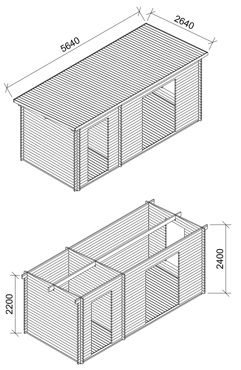 Mercia Dual Room Log Cabin elevation drawings showing building dimensions