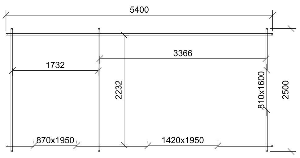 5.4m x 2.5m dual room log cabin plan drawing showing the dimensions of the timber garden building