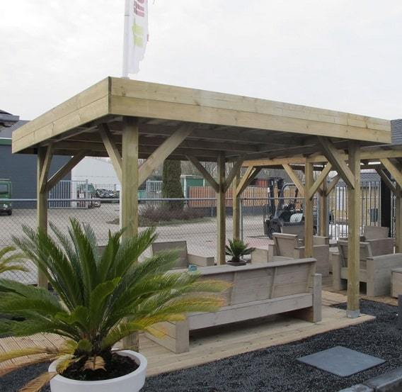 Medium modern wooden gazebo with flat roof