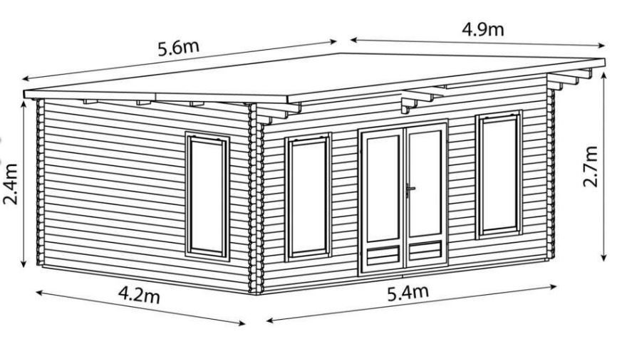 Mercia contemporary log cabin elevation drawing showing overall building dimensions