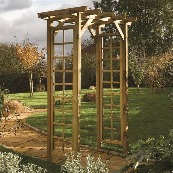 Add Structure with a Wooden Garden Arch - Gazebo Direct
