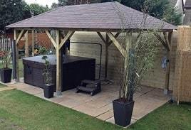 Superior Wooden Gazebo Utilised as a Hot Tub Canopy in Weybridge, Surrey
